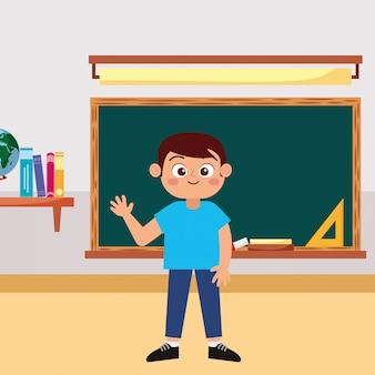 Gelukkige student het glimlachen golvende hand op school