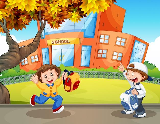 Gelukkige student op school