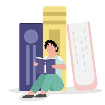 Gelukkige studente die handboeken bestudeert
