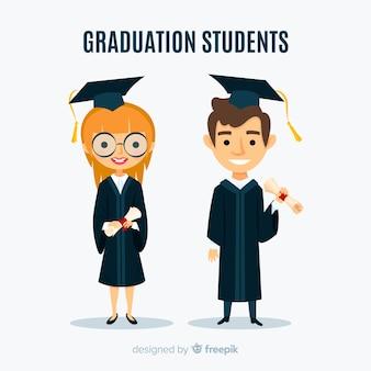 Gelukkige studenten die met een plat ontwerp afstuderen