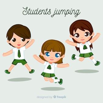 Gelukkige studenten die met vlak ontwerp springen
