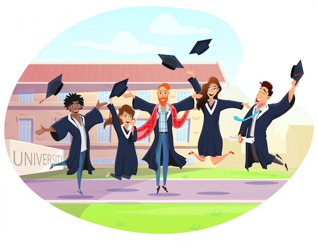 Gelukkige studenten die middelbare school afstuderen vieren