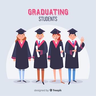 Gelukkige studenten met platte ontwerp vieren afstuderen