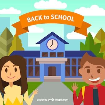 Gelukkige studenten met school achtergrond