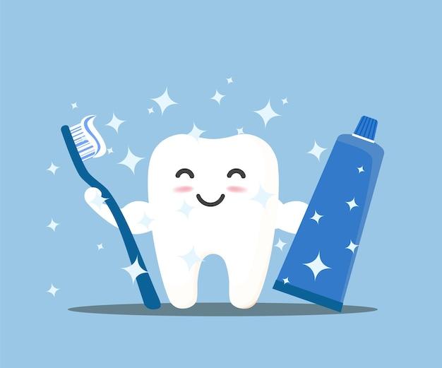 Gelukkige tand. leuke tand. om je tanden te poetsen met tandpasta.