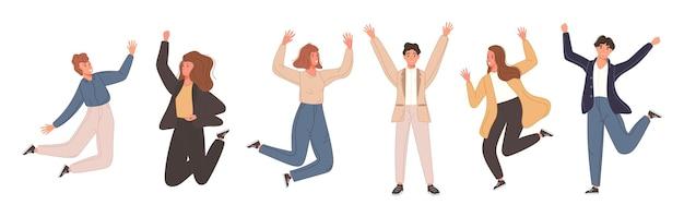 Gelukkige teammensen die de overwinning vieren groep vrienden die springen voor het behalen van het doel