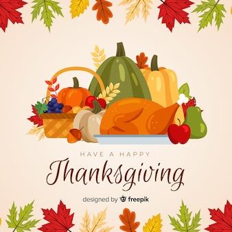 Gelukkige thanksgiving achtergrond in platte ontwerp