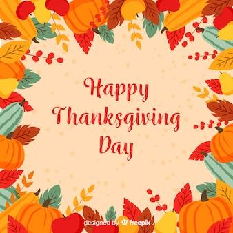 Gelukkige thanksgiving achtergrond met bladeren en bloemen frame