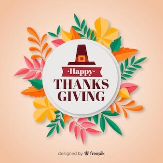 Gelukkige thanksgiving achtergrond met florale frame in platte ontwerp