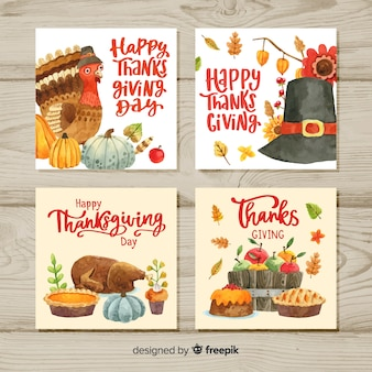 Gelukkige thanksgiving aquarel kaart collectie