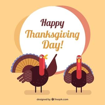Gelukkige thanksgiving day achtergrond met vriendelijke kalkoenen