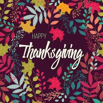 Gelukkige thanksgiving day-kaart met bloemen decoratieve elementen