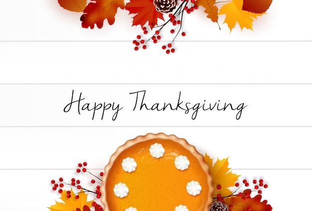 Gelukkige thanksgiving dayachtergrond met realistisch elementenontwerp