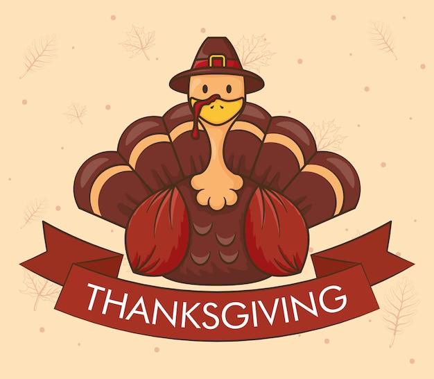 Gelukkige thanksgiving dayviering met turkije dat pelgrimshoed draagt
