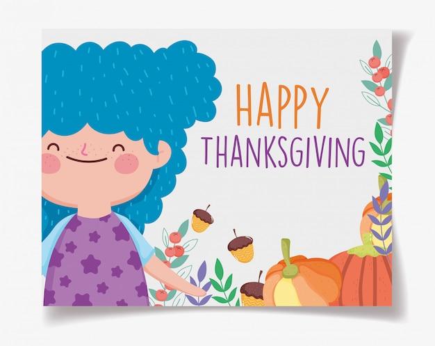 Gelukkige thanksgiving kaart met schattig klein meisje met pompoenen en eikels