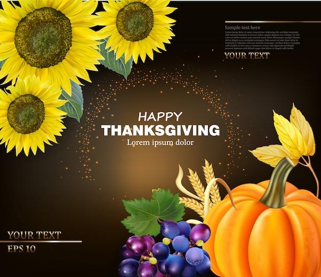 Gelukkige thanksgiving-kaart met zonnebloemen en pompoen
