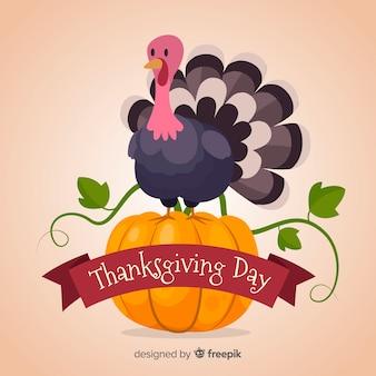 Gelukkige thanksgiving kalkoen achtergrond in platte ontwerp