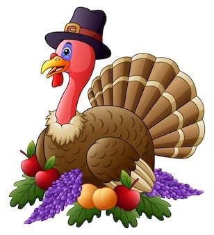 Gelukkige thanksgiving kalkoen met fruit