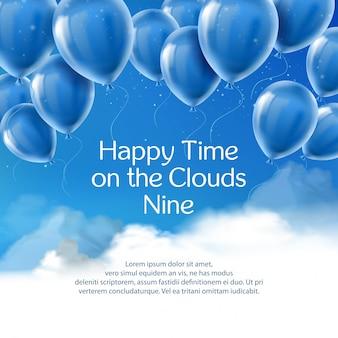 Gelukkige tijd op de wolken negen, banner met positief citaat.