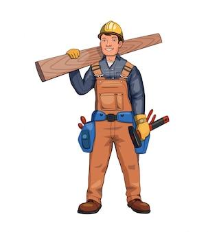 Gelukkige timmerman, bouwer die houten plank houdt.