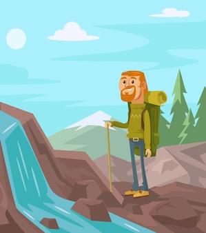 Gelukkige toeristen op de achtergrond van landschaps platte cartoonillustratie