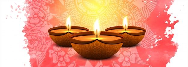 Gelukkige traditionele indiase het festival kleurrijke banner van diwali
