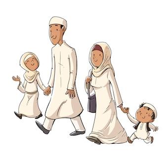 Gelukkige traditionele moslim familie wandelen