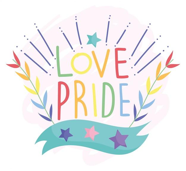 Gelukkige trotsdag, liefdessterren laten decoratie lgbt-gemeenschap achter