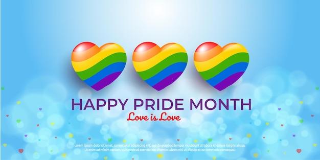 Gelukkige trotsdag wenskaart met kleurrijke harten