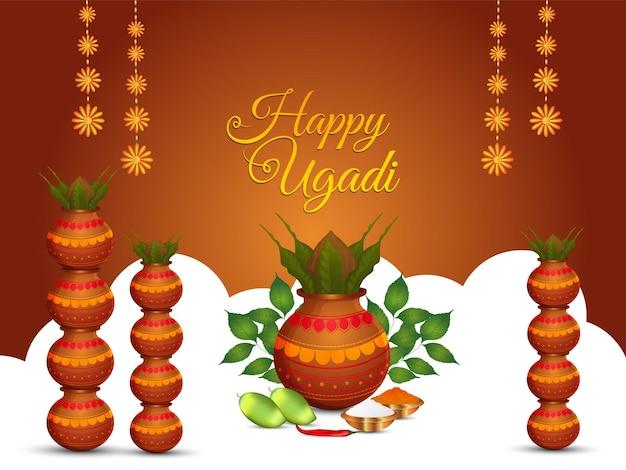 Gelukkige ugadi indian hindoe festival viering achtergrond