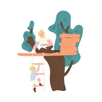 Gelukkige vader die boomhut bouwt en zoon die op touwladder klimt. familie outdoor recreatieve activiteit. leuke grappige vader en kind tijd samen doorbrengen. platte cartoon kleurrijke vectorillustratie.