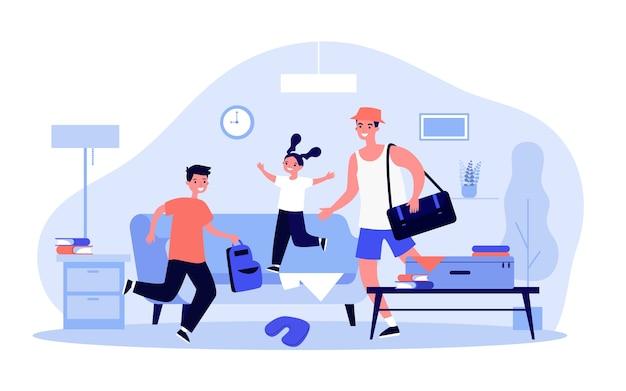 Gelukkige vader en kinderen inpakken voor vakantiereis. rugzakken, koffers, rommelige illustratie thuis. familievakantie, reisconcept voor banner, website of bestemmingswebpagina
