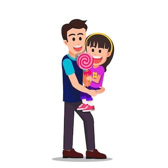 Gelukkige vader met zijn dochter die een lolly vasthoudt