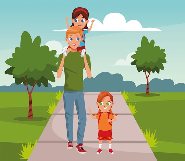 Gelukkige vader met zijn dochters lopen