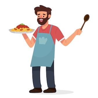 Gelukkige vader om thuis te koken