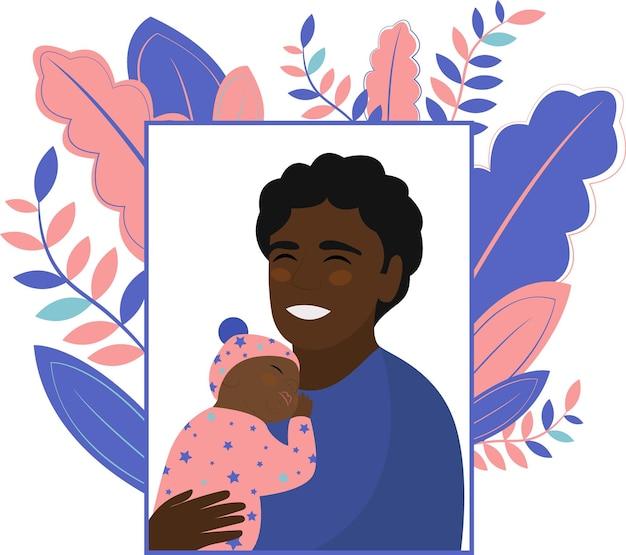 Gelukkige vaderdag. afro-amerikaanse man houdt dochter in zijn armen en glimlacht. de pasgeboren baby slaapt. platte vectorillustratie