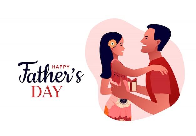 Gelukkige vaderdag. kinderen met vader. vader knuffelt zijn dochter en zoon