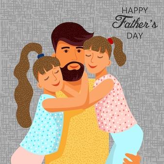 Gelukkige vaderdag. leuke platte cartoon vader en twee dochters met tekst. sjablonen