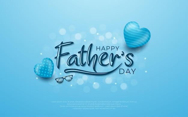 Gelukkige vaderdag met blauwe ballon in blauw.
