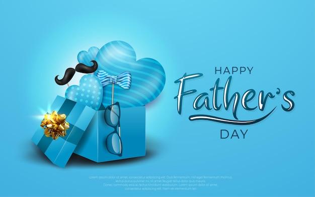 Gelukkige vaderdag met bril, snor en blauwe ballon en cadeaus voor papa in blauw.