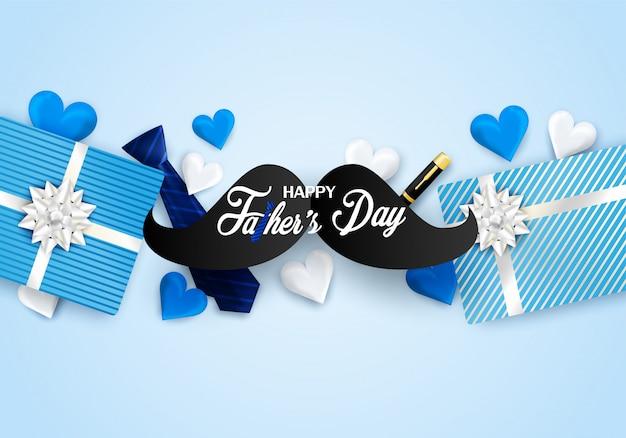 Gelukkige vaderdag met hart, stropdas op blauwe achtergrond.