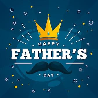 Gelukkige vaderdag met kroon en snor