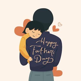 Gelukkige vaderdag met man en kind