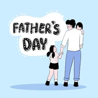 Gelukkige vaderdag vader houdt de zoon op zijn schouder en leidt zijn dochter naar het vaderdagfestival
