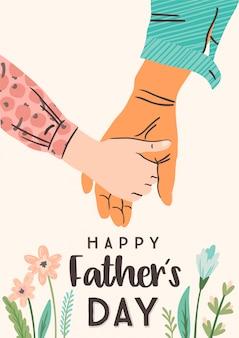 Gelukkige vaderdag. vector illustratie. man houdt de hand van het kind.