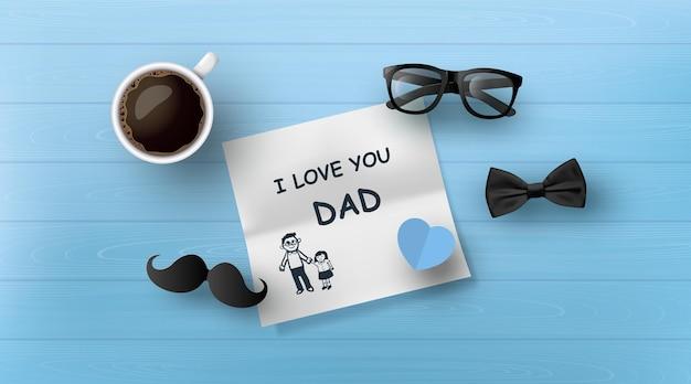 Gelukkige vaderdag-wenskaart met snor, stropdas, bril in papierstijl