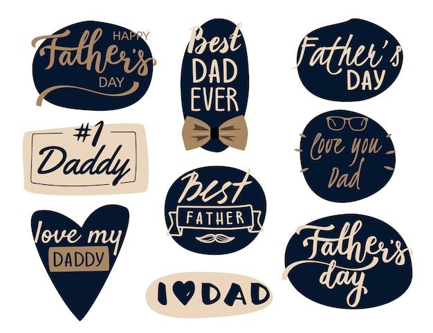 Gelukkige vaderdaginzameling - reeks van kalligrafische stijl op donkerblauwe rug
