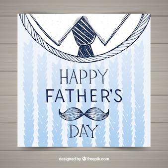 Gelukkige vaderdagkaart met kleren in hand getrokken stijl