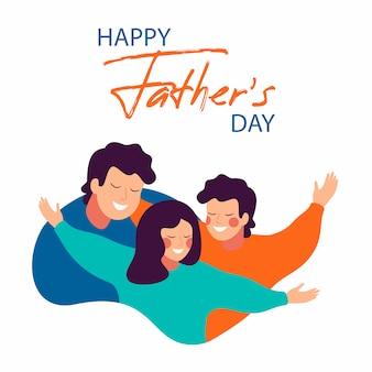 Gelukkige vaderdagkaart van glimlachende jonge vader die zijn kinderen met liefde omhelzen