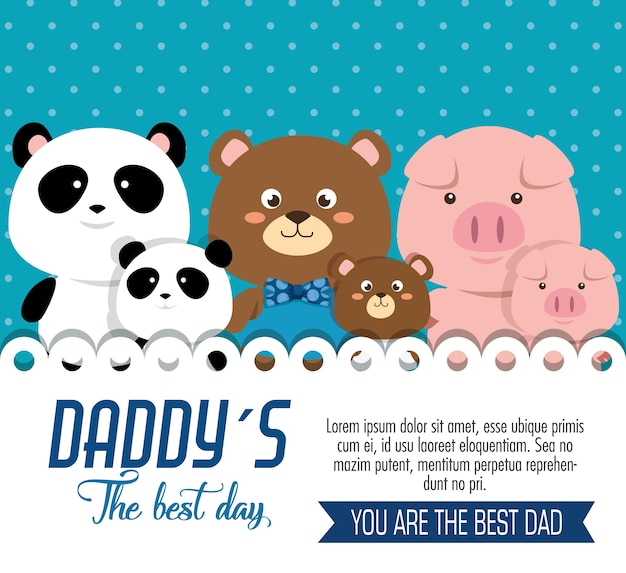 Gelukkige vaders dag kaart met dieren familie